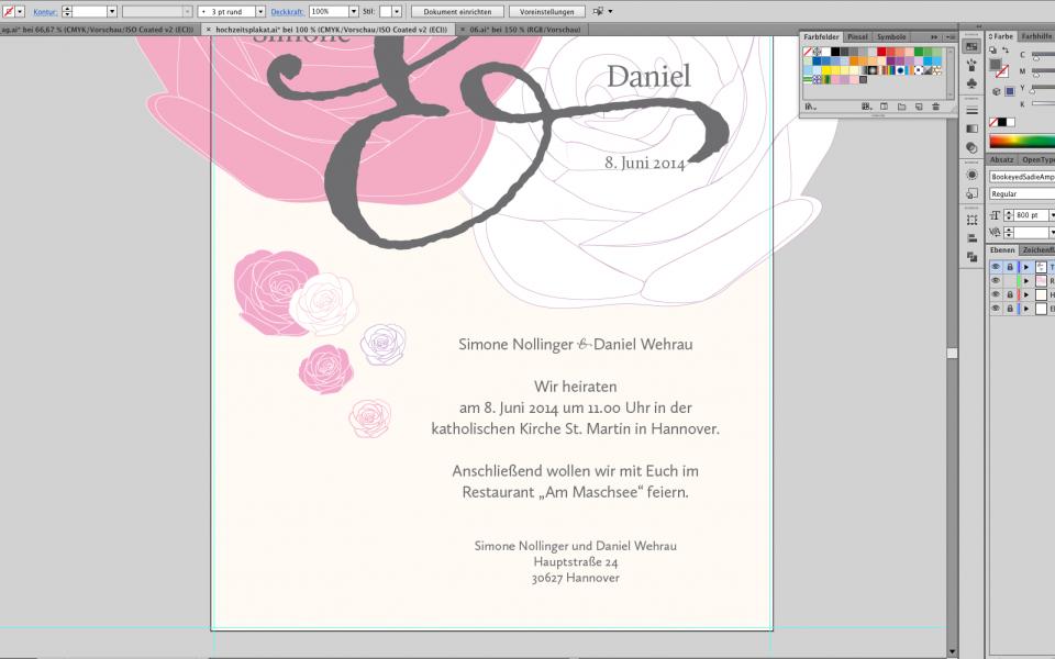Ein Plakat für eine Hochzeit gestalten