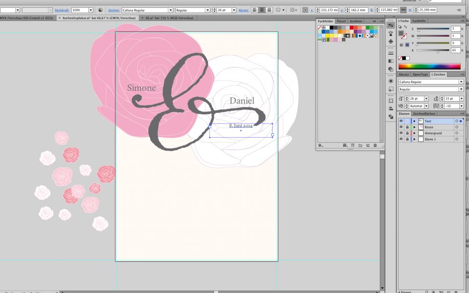 Hochzeitsplakat im Adobe Illustrator gestalten