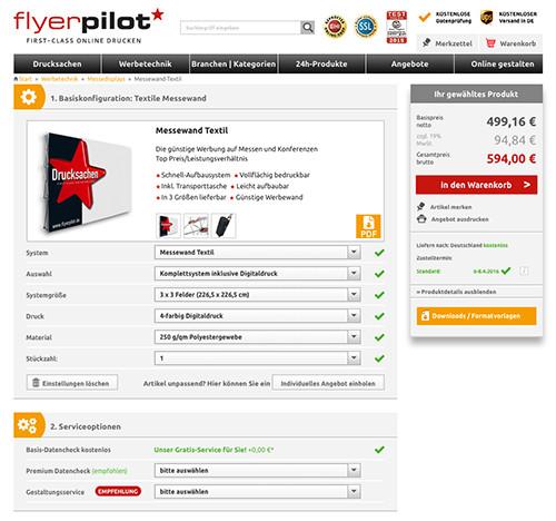 Messewand gestalten - Produkt Messewand im Online-Shop konfigurieren