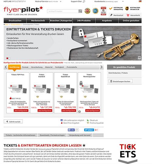 Tickets gestalten - Eintrittskarten und Tickets Übersichtsseite
