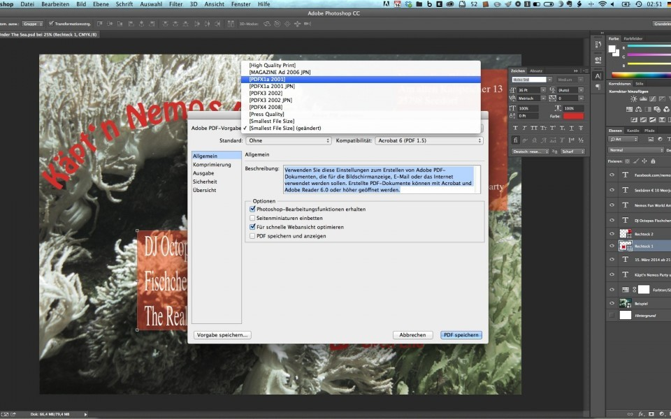 PDF Export-Einstellungen im Programm Photoshop