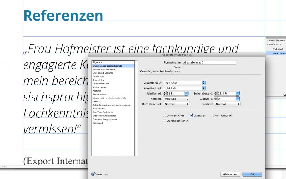 InDesign: Absatzformate erstellen