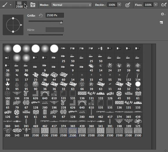 Verschiedene Pinselarten im Programm Photoshop
