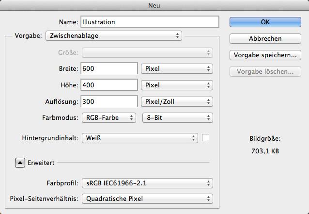 Broschüren mit Photoshop gestalten - Größendefinition für eine Illustration im Photoshop