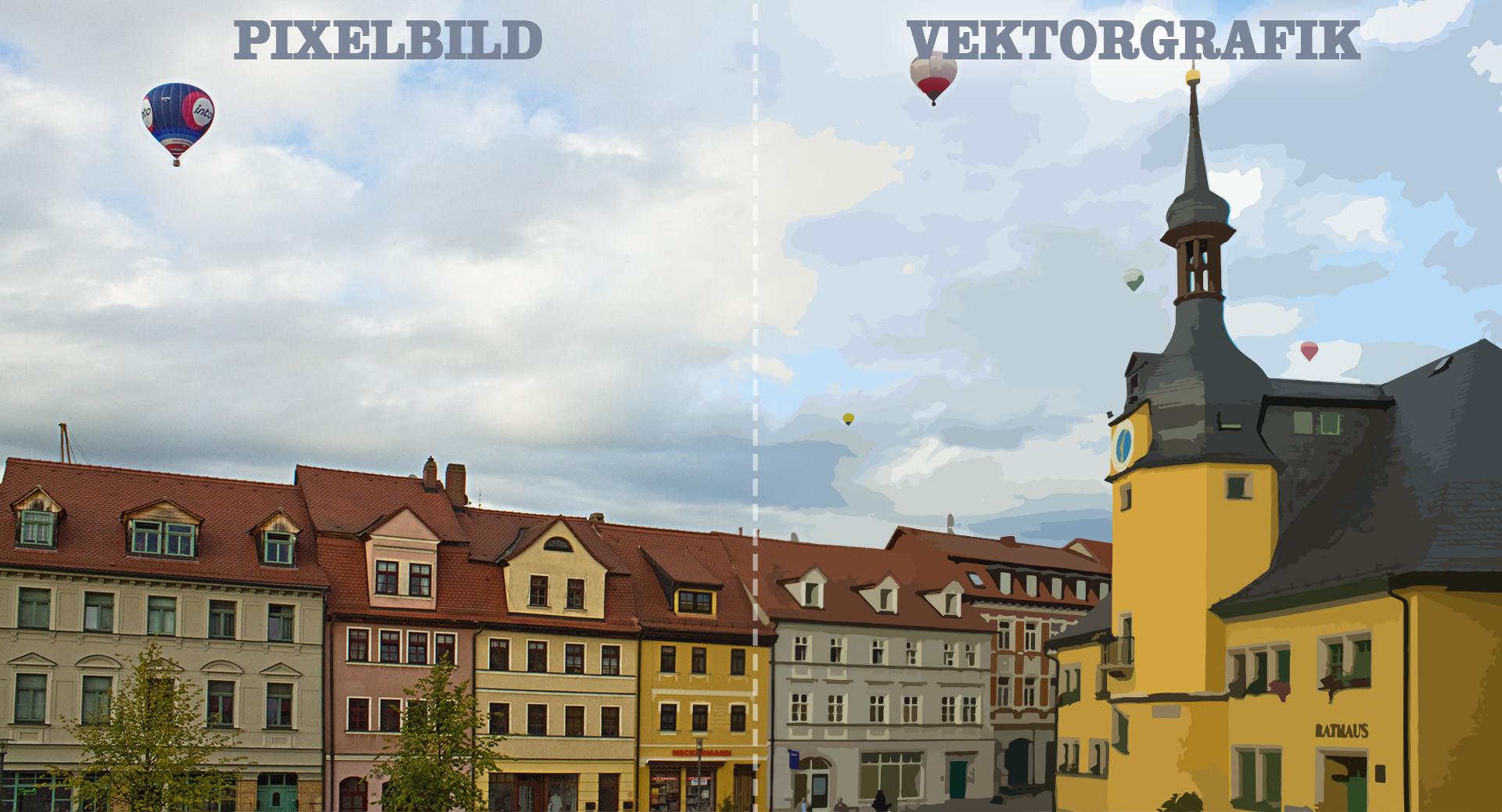 Pixel vs. Vektor - Pixelbild und Vektorgrafik - Vergleich zwischen Pixelbild und Vektorgrafik