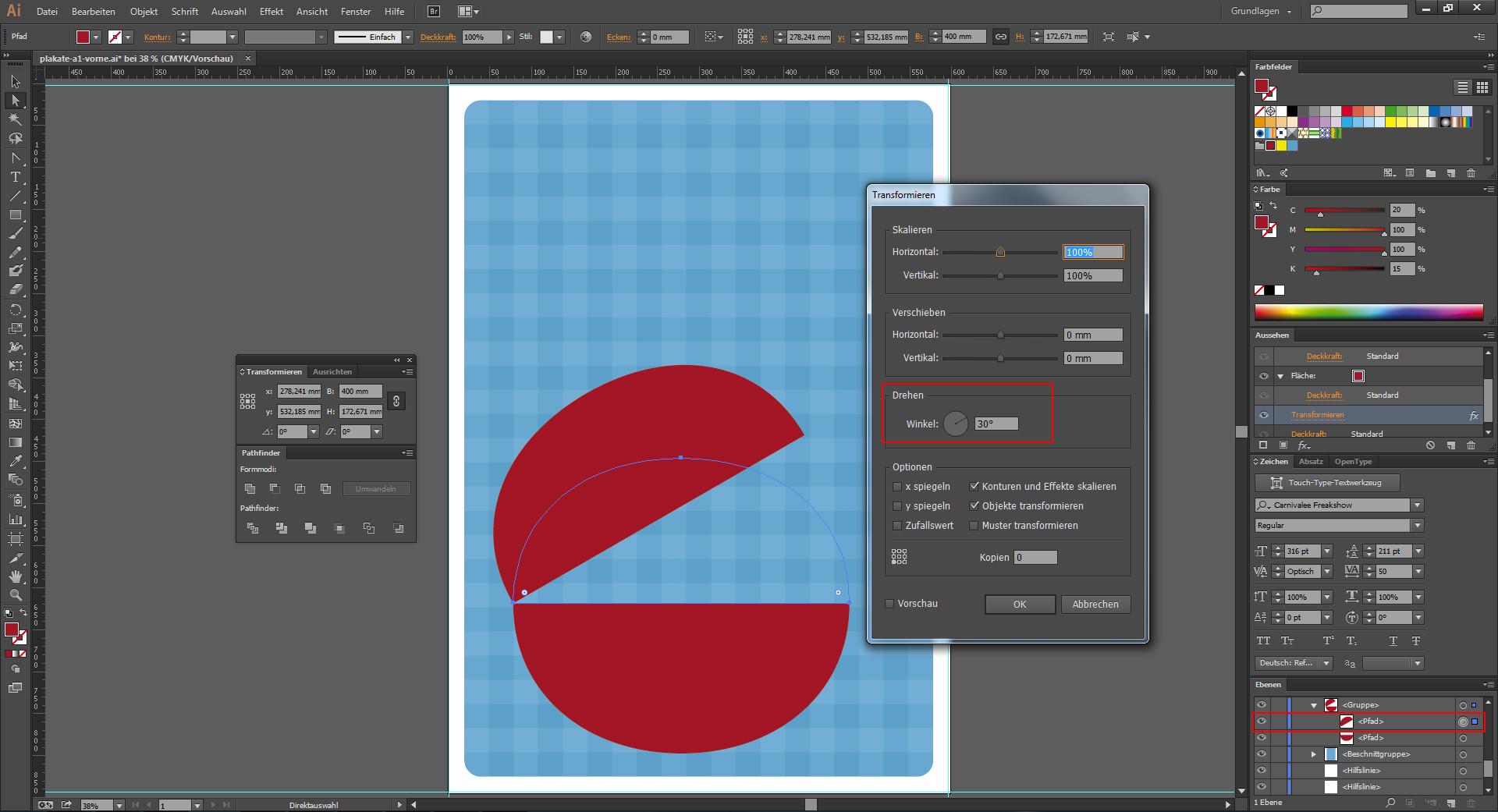 Paletten für Objektbearbeitung im Illustrator