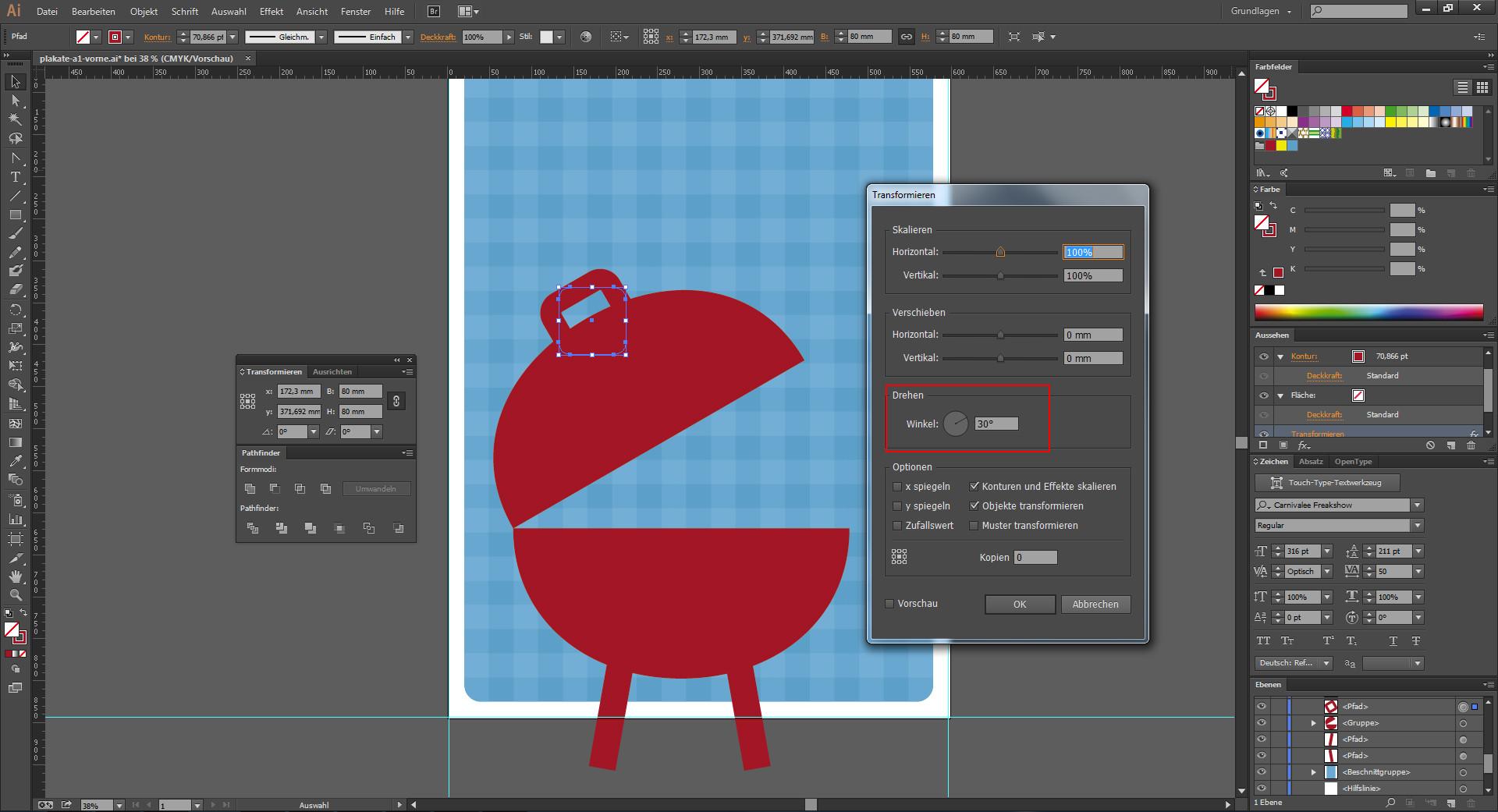 Objekte drehen im Programm Illustrator