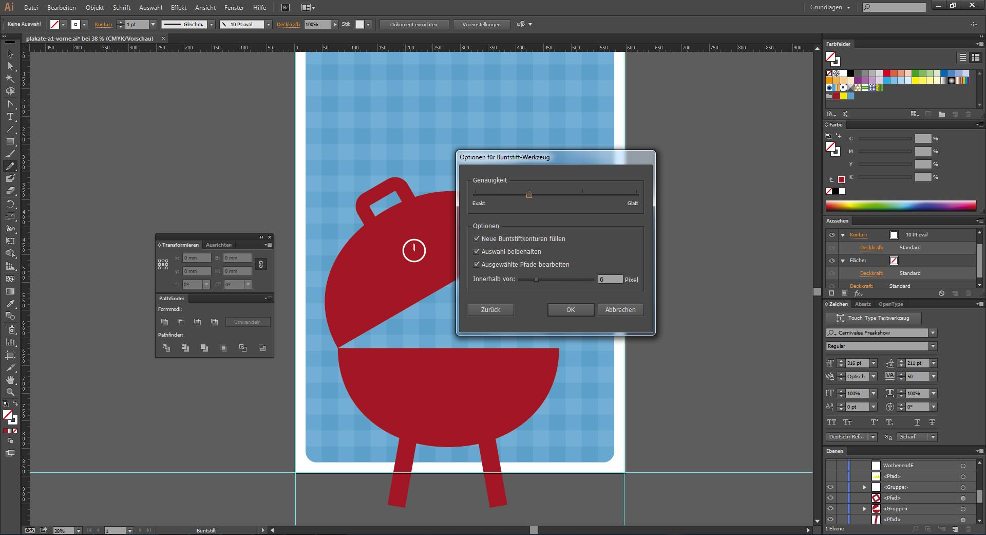 Objektpfad nachzeichnen im Illustrator