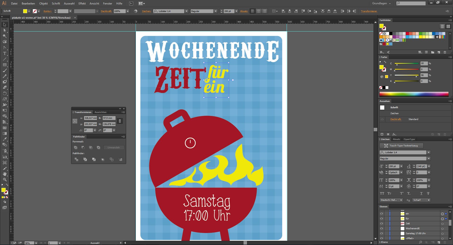 Texteingabe im Programm Illustrator