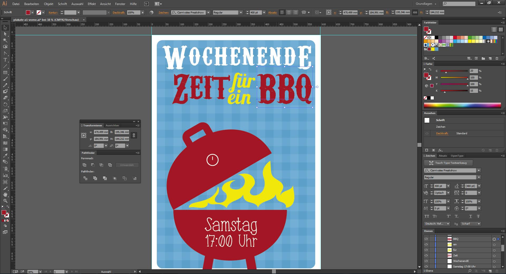 Ein Veranstaltungsplakat gestalten - Textbearbeitung im Programm Illustrator