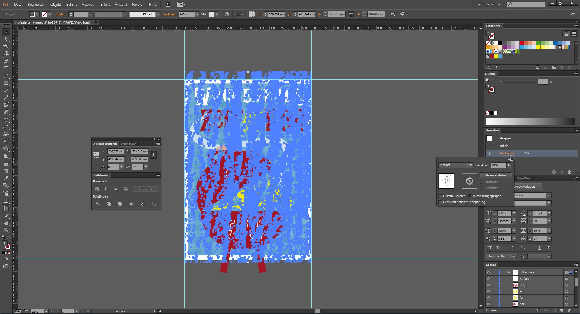 Alle Einzelobjekte auswählen und gruppieren im Illustrator