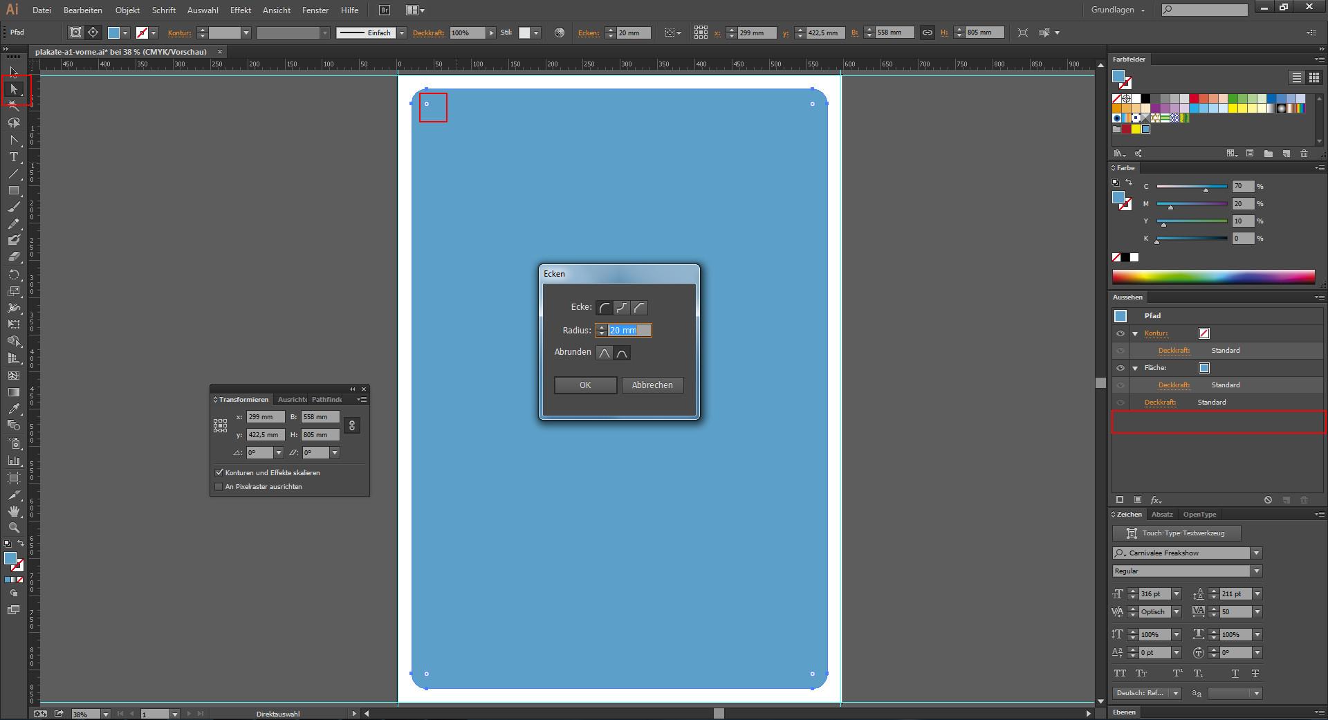 Eckenradius für grafische Elemente einstellen im Illustrator