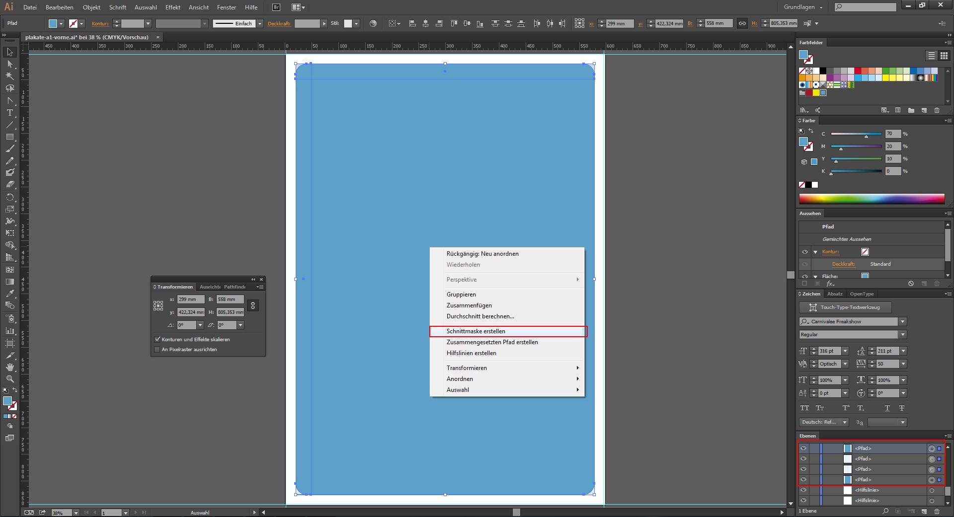 Schnittmaske erstellen im Programm Illustrator