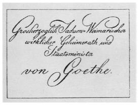 Visitenkarten drucken im Wandel der Zeit - Visitenkarte von Goethe