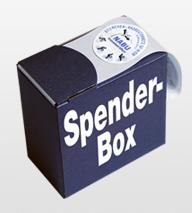 Etiketten auf der Rolle in der Spenderbox