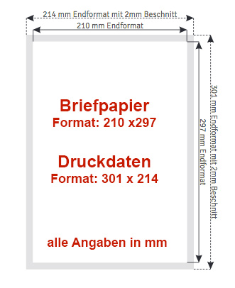 Briefpapier Maße