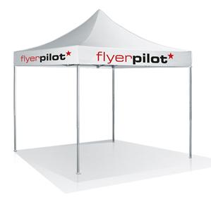 Faltzelt bedruckt von Flyerpilot